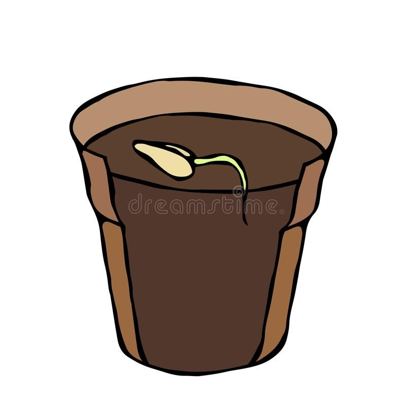 Flower Pot with Soil. Seed, Sprout and Root. Flowerpot for Sprouting Plant. Seedling. Phases of Growth of a Plant. Gardening Hobby stock illustration