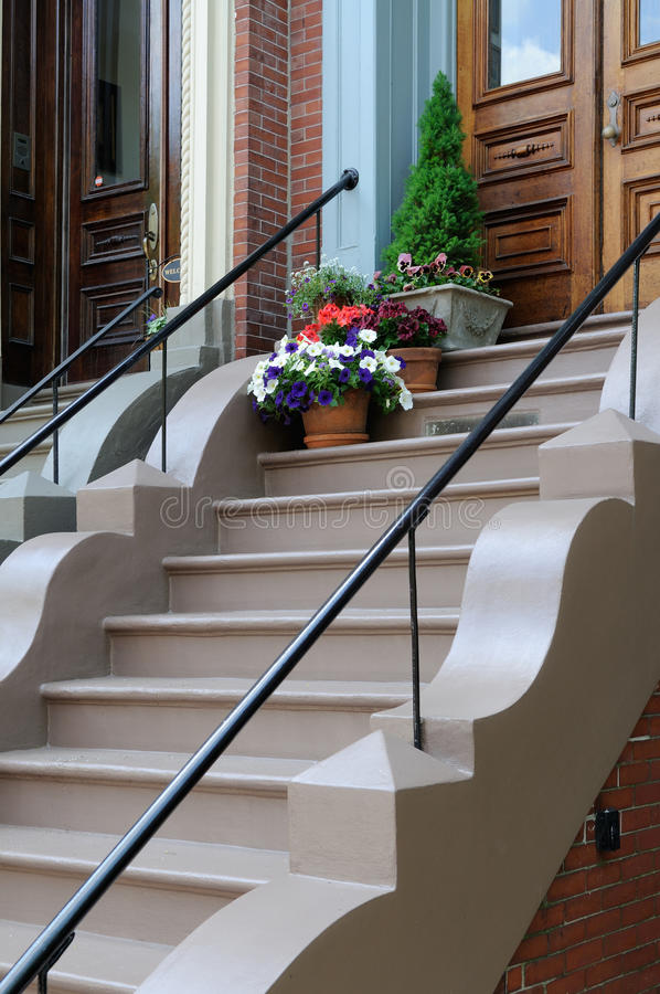 Download Flower Pot On Victorian Home Steps Stock Photo - Image of front, pattern: 14235964