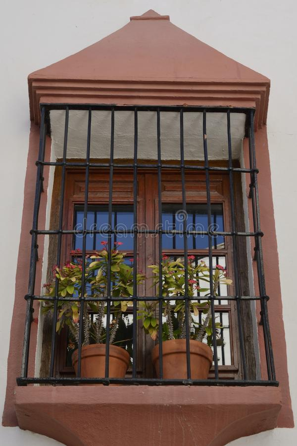 Flower pots at window in Benahavis stock image