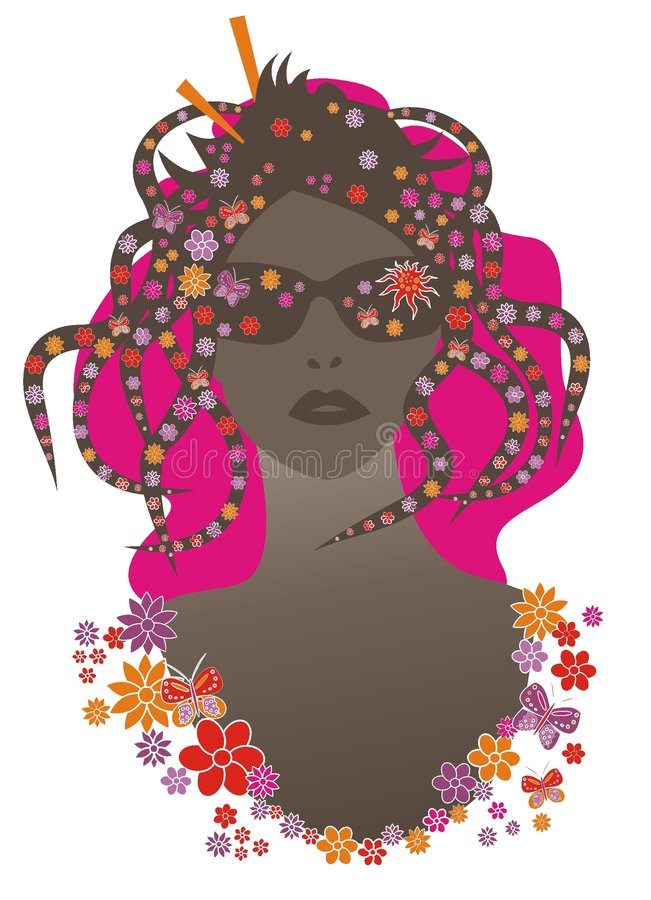 Flower power. Illustration of womans face with flowers and butterflies in her hair royalty free illustration