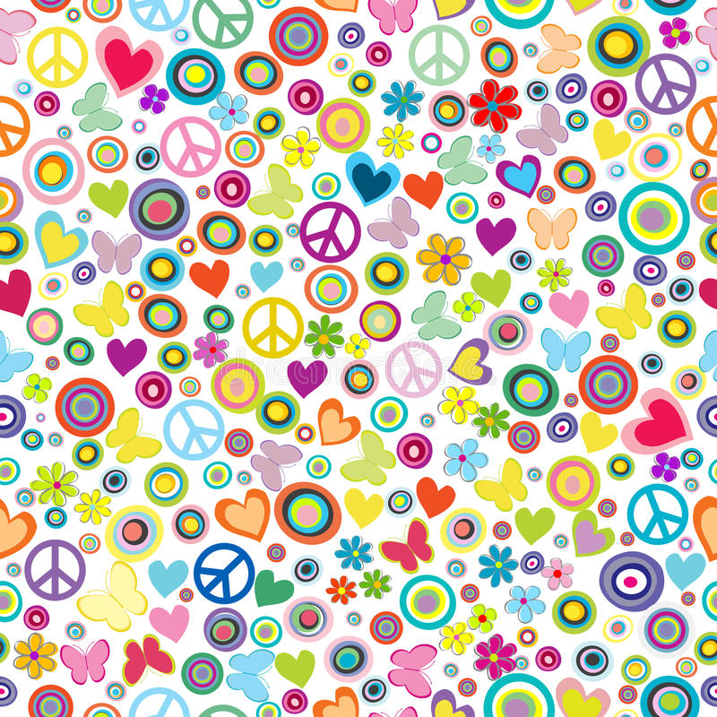 Flower power background seamless pattern with flowers, peace signs, circles and butterflies stock illustration