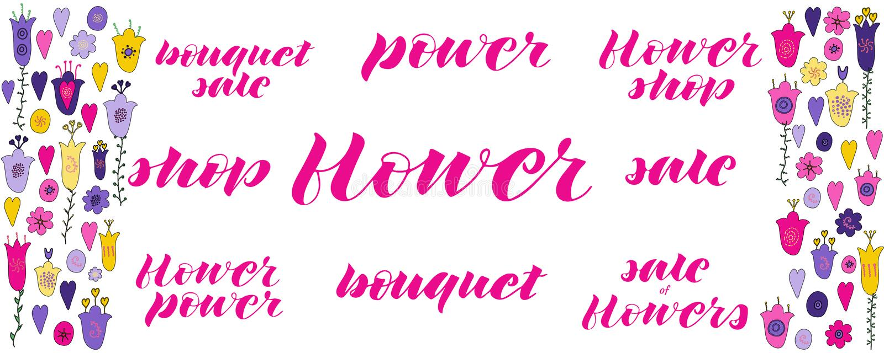 Flower power, bloemwinkel, verkoop van bloemen, boeketverkoop, bloem, macht, verkoop, boekethand het van letters voorzien vector illustratie