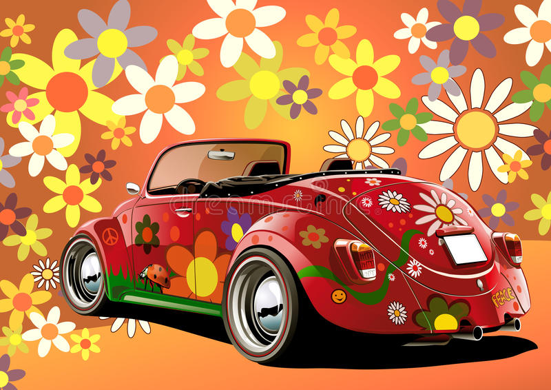 Download Flower power convertible stock illustration. Image of transportation - 10137583