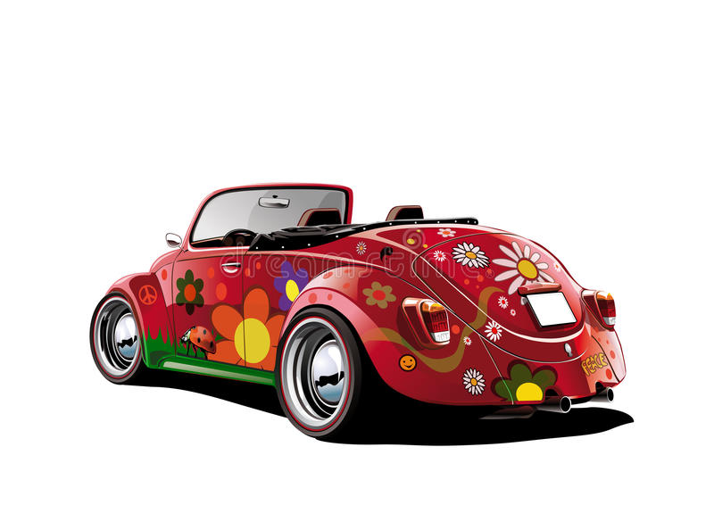 Flower power convertible. Colorful illustration on white background vector illustration