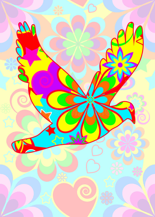 Download Flower power dove stock illustration. Image of happy - 15604420