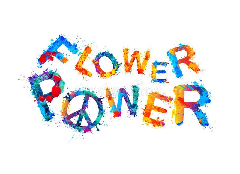 Flower power Färgstänkmålarfärg stock illustrationer