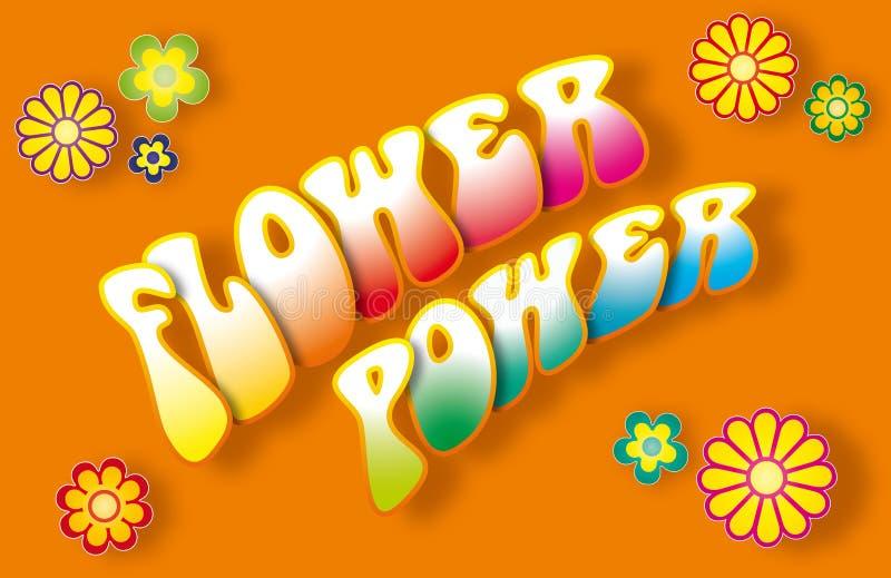 Flower Power Lettering stock illustration