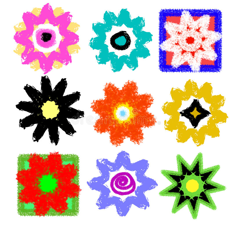 Flower Power Pop Art Mix. Colorful variety of nine different retro and grunge flowers pop art stylish theme in which no two are alike vector illustration