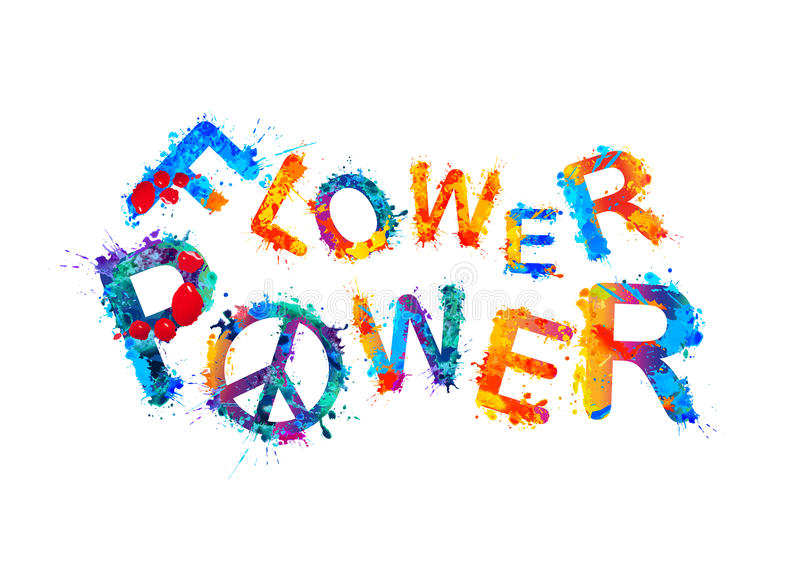 Flower power Spritzenfarbe stock abbildung