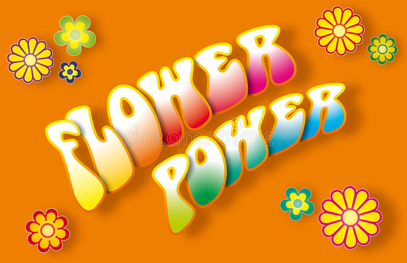 Flower powerbokstäver stock illustrationer