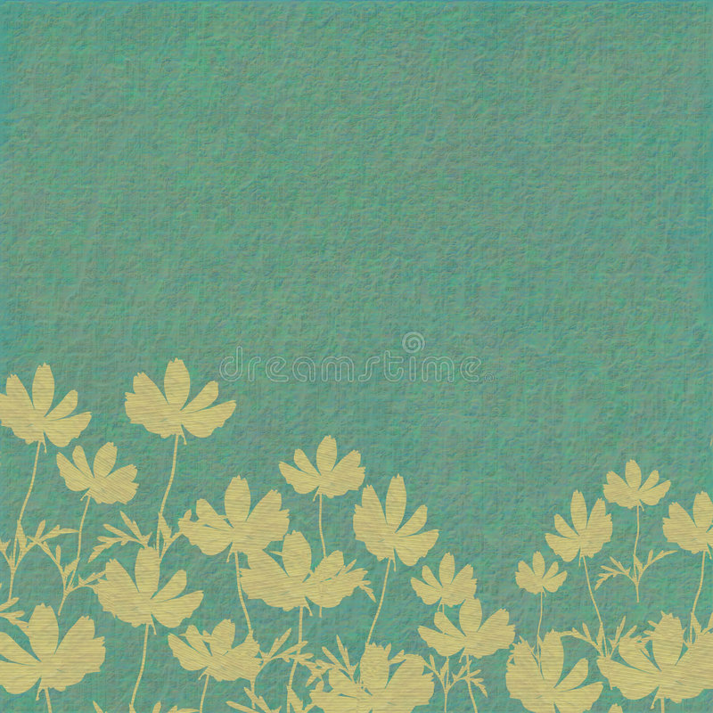 Flower print on washed blue background royalty free stock image