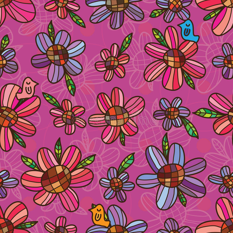 Flower purple pink symmetry seamless pattern. This illustration is drawing flower, leaf and bird with purple and pink colors in seamless pattern royalty free illustration