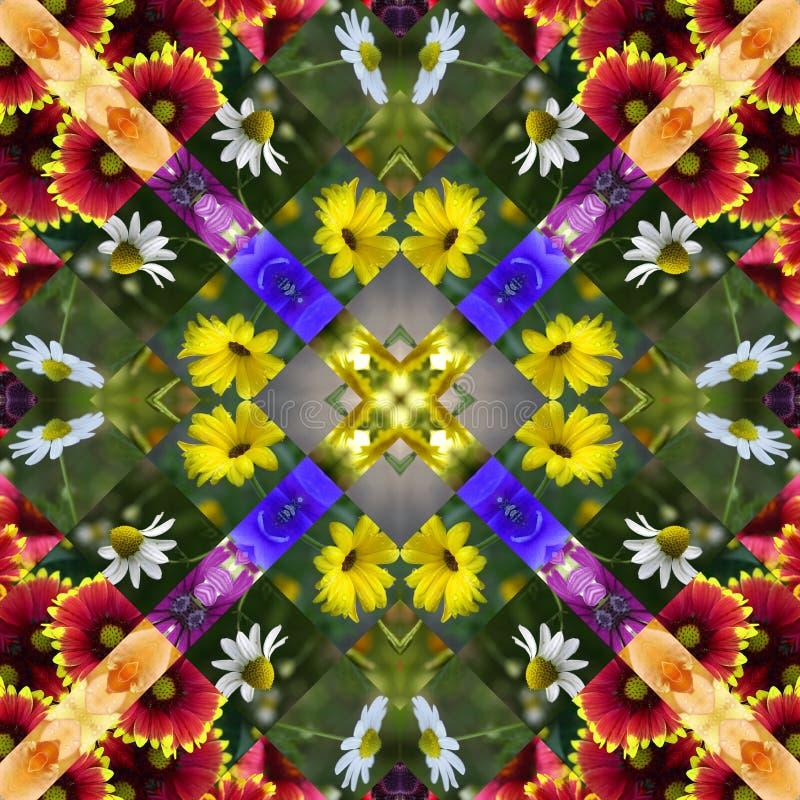 Flower Quilt. Flower Photo Quilt One of a Kind Design vector illustration
