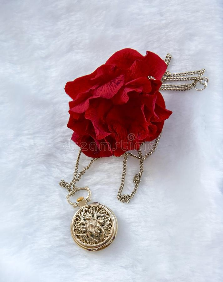 Flower red rose and gold filigree work clock - pendant with lid. Lay on white fur royalty free stock image