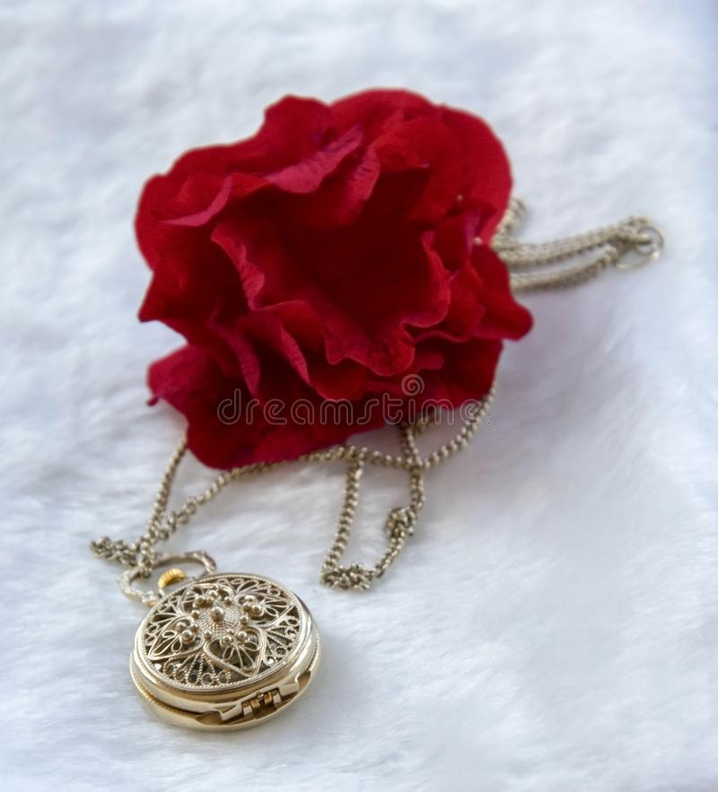 Flower red rose and gold filigree work clock - pendant with lid. Lay on white fur stock photography