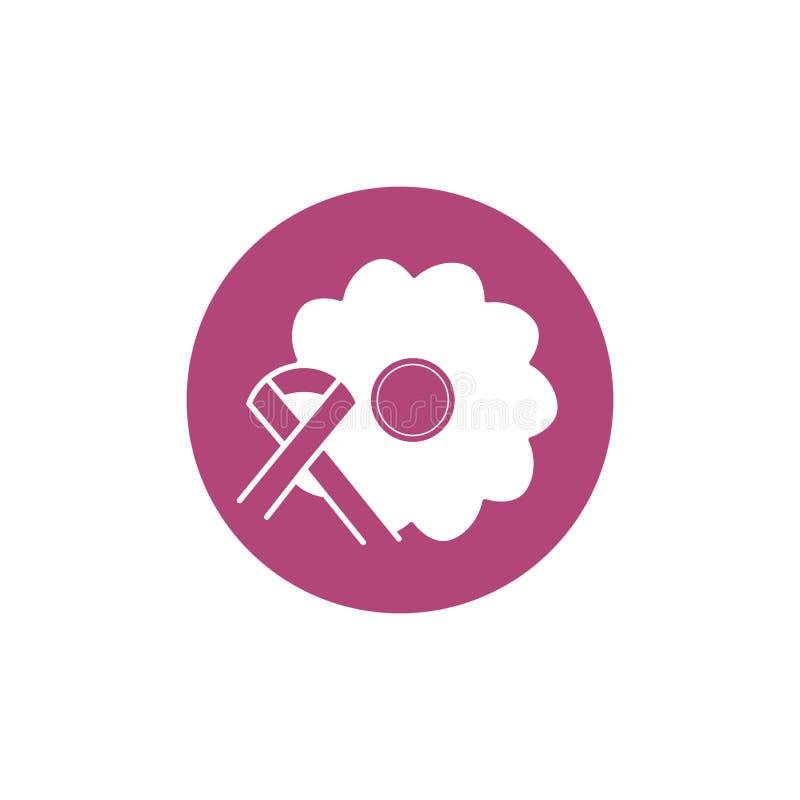 Flower ribbon breast cancer awareness. Block icon vector illustration royalty free illustration