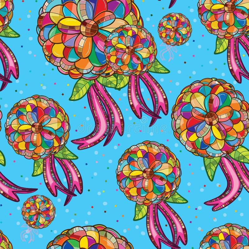 Flower ribbon seamless pattern stock illustration