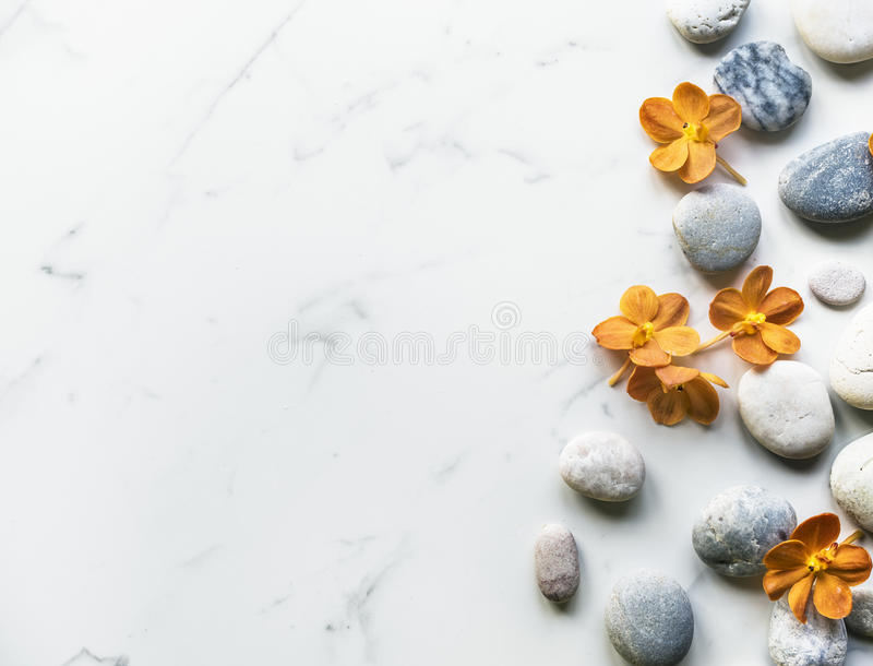 Flower rock healthy aroma balance tranquility royalty free stock images