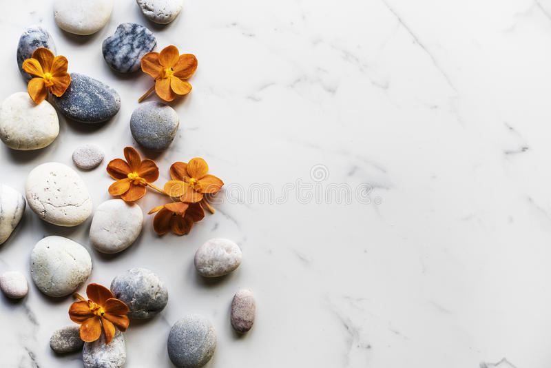Flower rock healthy aroma balance tranquility royalty free stock photo