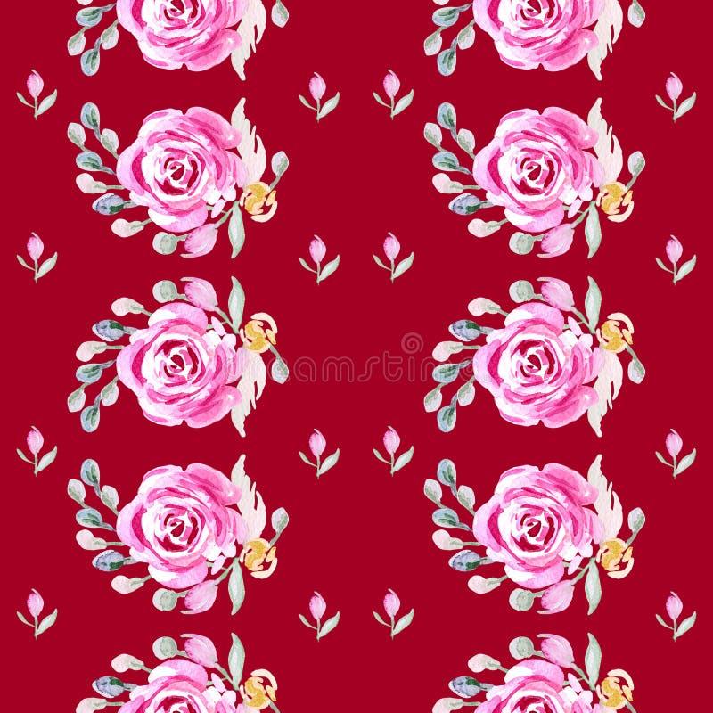 Flower rose. Botanic Tile. Aquarelle wild flower for background, texture. stock illustration