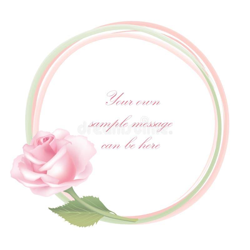 Flower Rose frame isolated. Floral decor. stock illustration