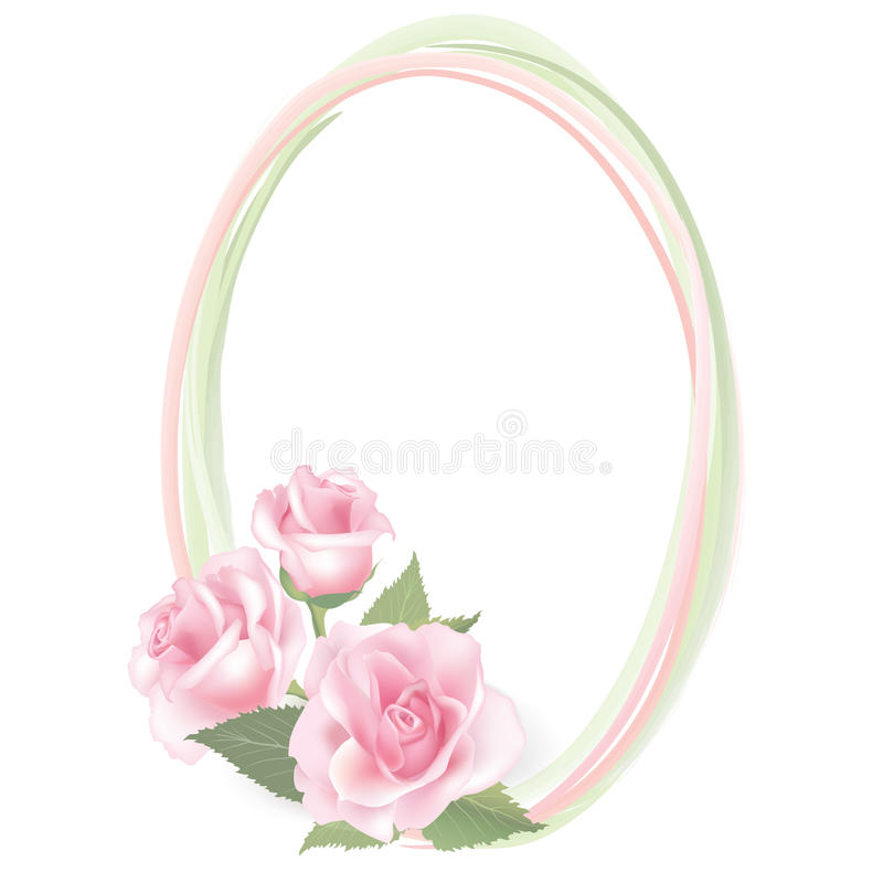 Flower Rose frame isolated. Floral decor. royalty free illustration