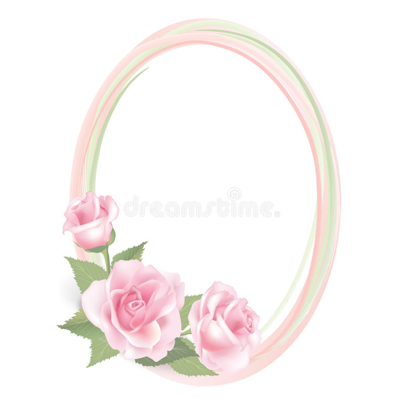 Free Flower Rose Frame Isolated On White Background. Floral Vector Decor. Royalty Free Stock Images - 37419609