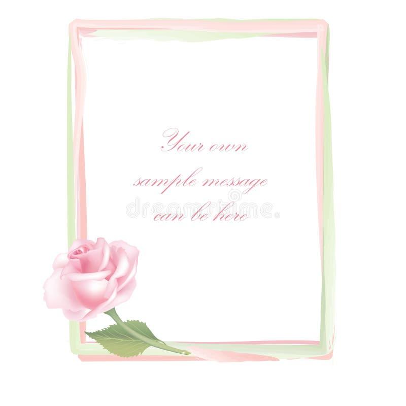 Flower Rose frame isolated on white background. Floral decor. royalty free illustration