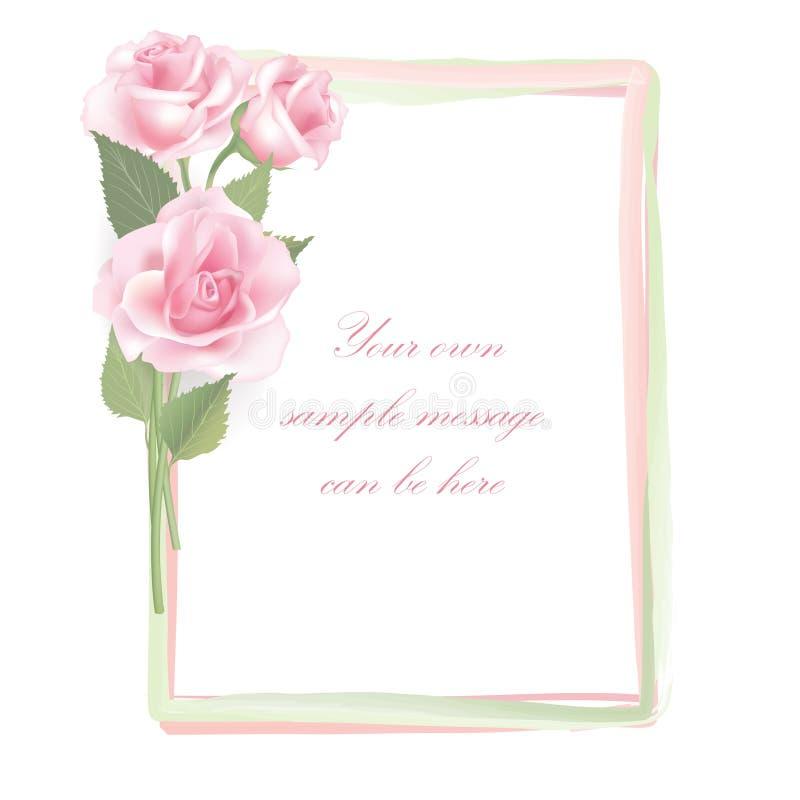 Flower Rose frame isolated on white background. Floral decor. vector illustration