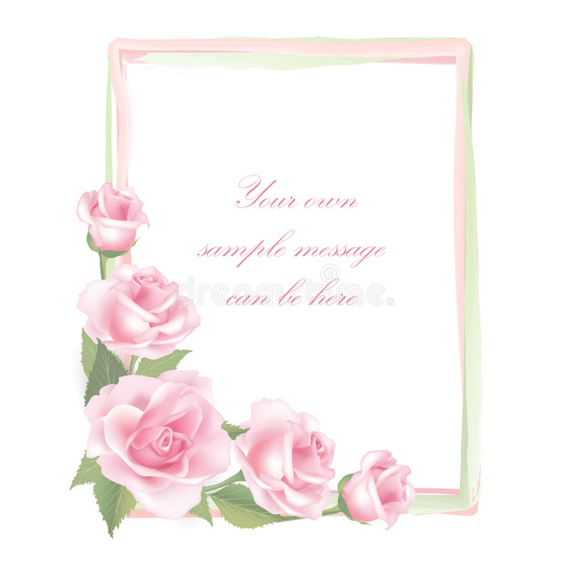 Flower Rose frame isolated on white background. Floral vector decor. royalty free illustration