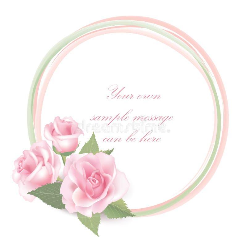 Flower Rose frame on white background. Floral decor. stock illustration