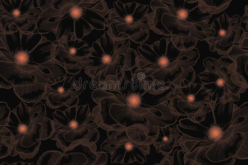 Flower rose, seamless pattern. Hand-drawn, vector illustration.  stock photo