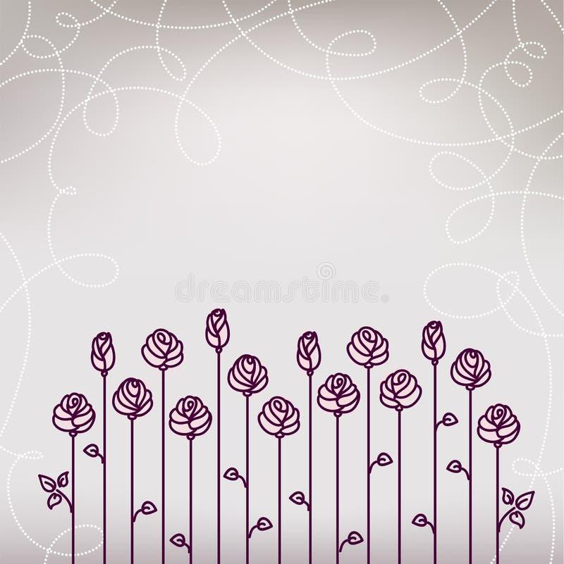 Flower Roses Card. Wedding Background vector illustration