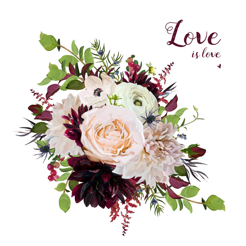 Flower round airy loose wreath bouquet of pink garden Rose, burg. Undy Dahlia flowers Anemone red Astilbe, Agonis green leaves. Wedding trendy vector card stock illustration