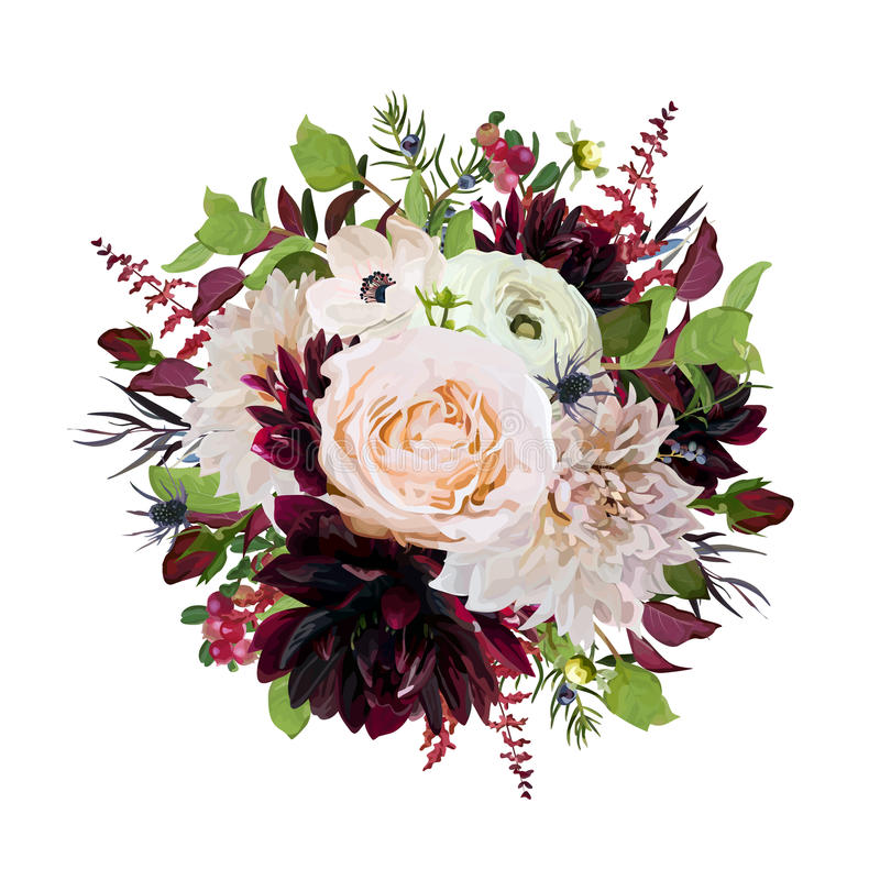 Flower round wreath bouquet of pink Rose burgundy flowers Dahlia. Anemone red Astilbe, Agonis leaves green herb mix. Autumn trendy bouquet vector illustration