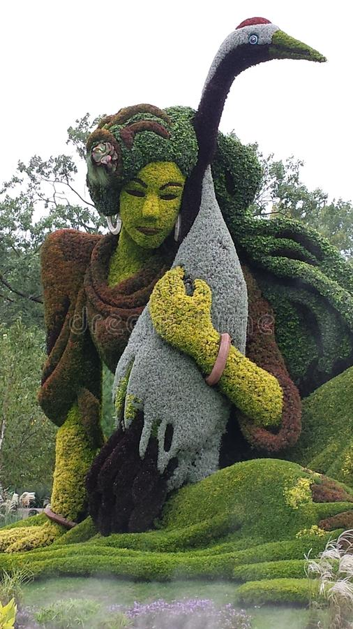 Download Flower Sculpture Montreal Botanical Gardens Woman With Bird Stock  Image   Image Of Montreal,