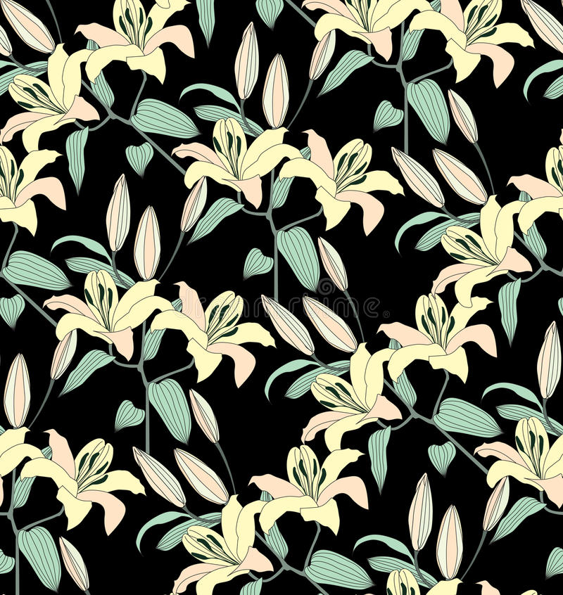 Black Flower And Bud Pattern Royalty Free Stock Photos: Flower Seamless Background. Abstract Ornament Flower Lily