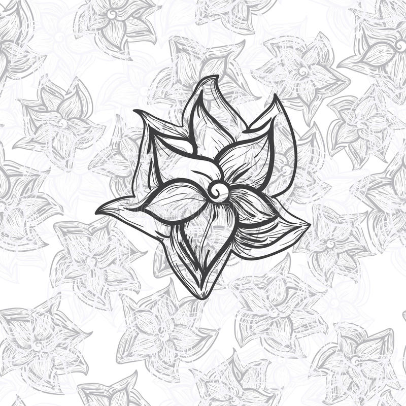 Download Flower on seamless floral stock vector. Image of grey - 20453748