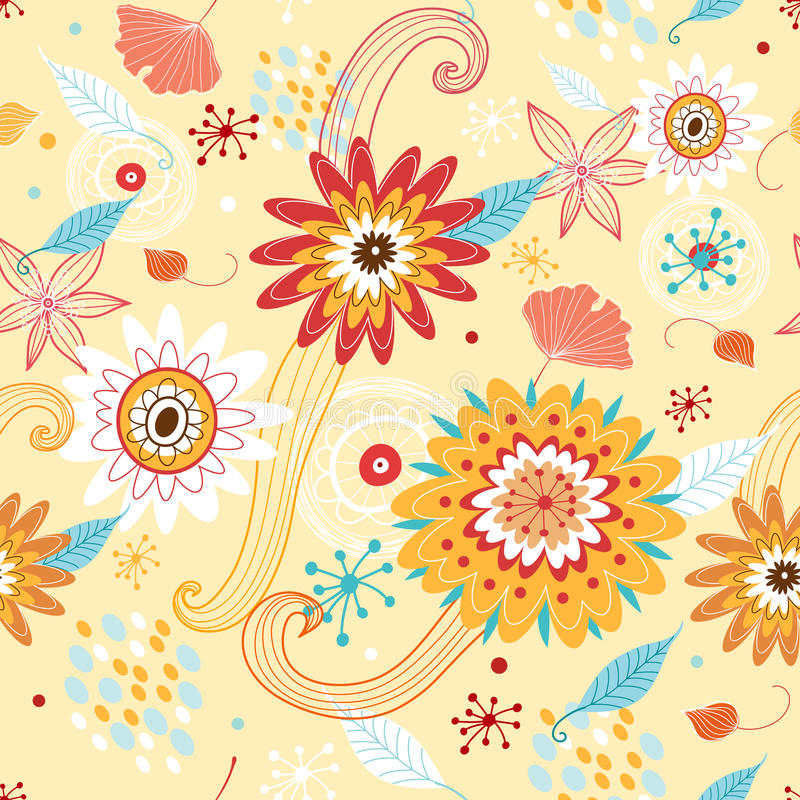 Flower seamless pattern with autumn colors royalty free illustration