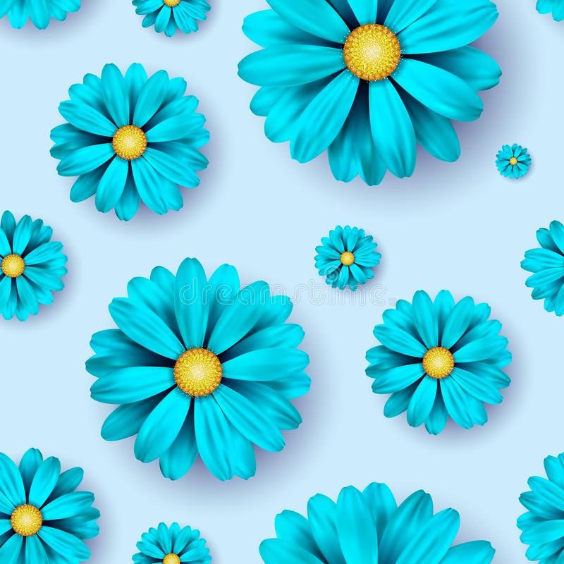 Flower seamless pattern background with realistic blue floral elements. stock illustration