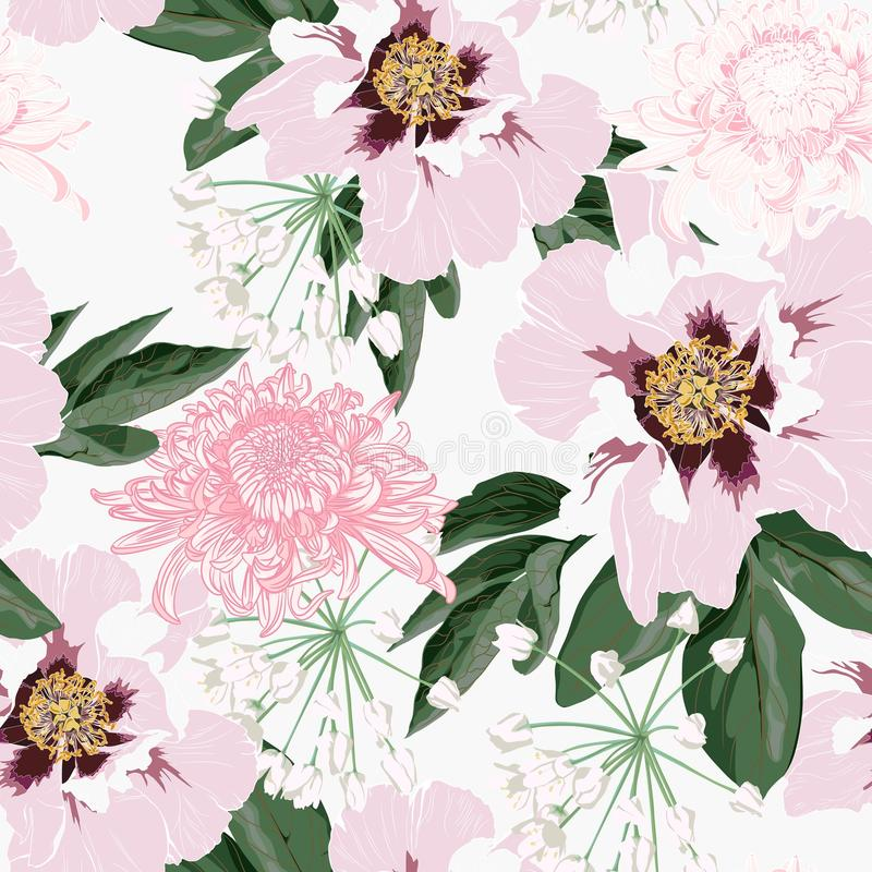 Flower seamless pattern with beautiful pink peony and chrysanthemum flowers on white background template. stock illustration