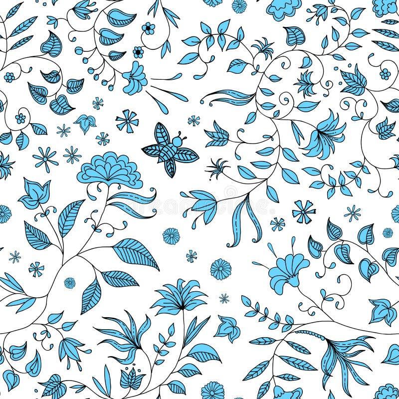 Flower Seamless Pattern Blue Vector stock illustration