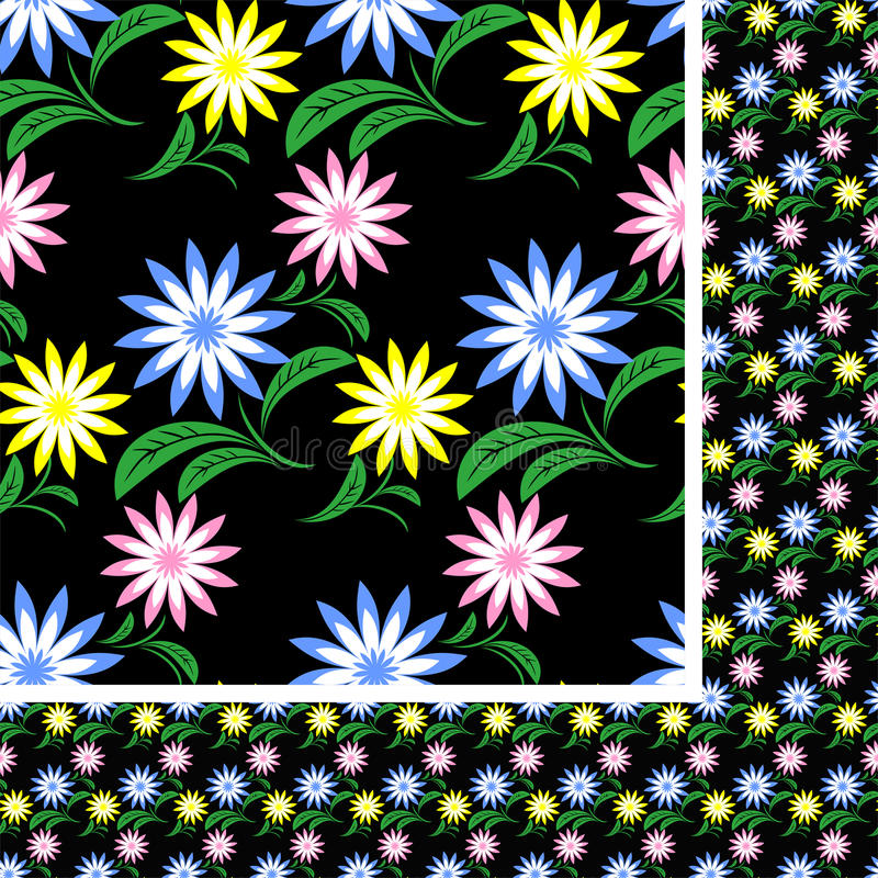 Black Flower And Bud Pattern Royalty Free Stock Photos: Flower Seamless Pattern With Colorful Flowers On Black