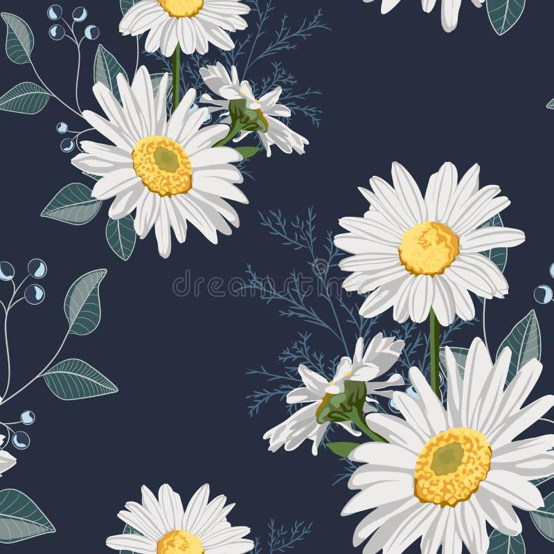 Flower seamless pattern. Field herbs daisy textile print decoration on vintage dark blue background. vector illustration
