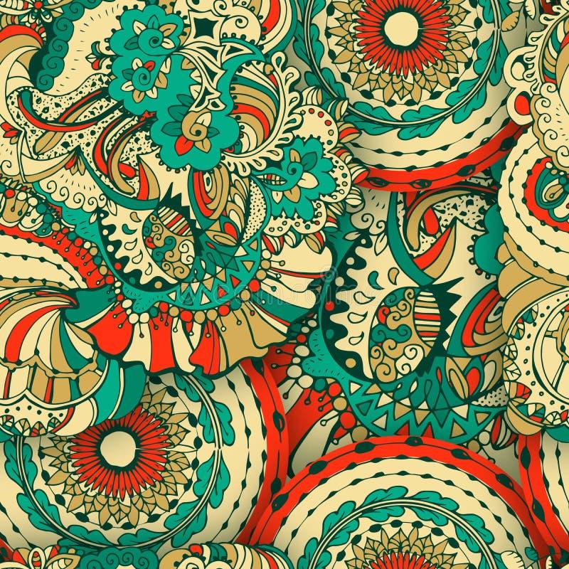 Flower Seamless Pattern or Floral Slavic Ornate, Ethnic Background vector illustration