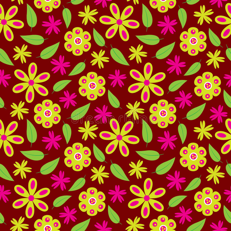 Flower seamless pattern with green and pink flowers on red background for wallpaper royalty free stock photography