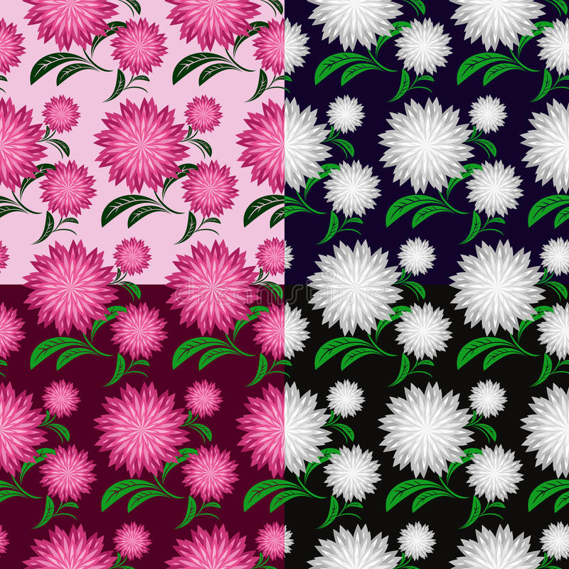 Free Flower Seamless Pattern In Four Variants Royalty Free Stock Photo - 30555545