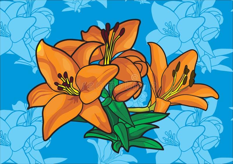 Flower. Seamless pattern of lillly flowers vector illustration
