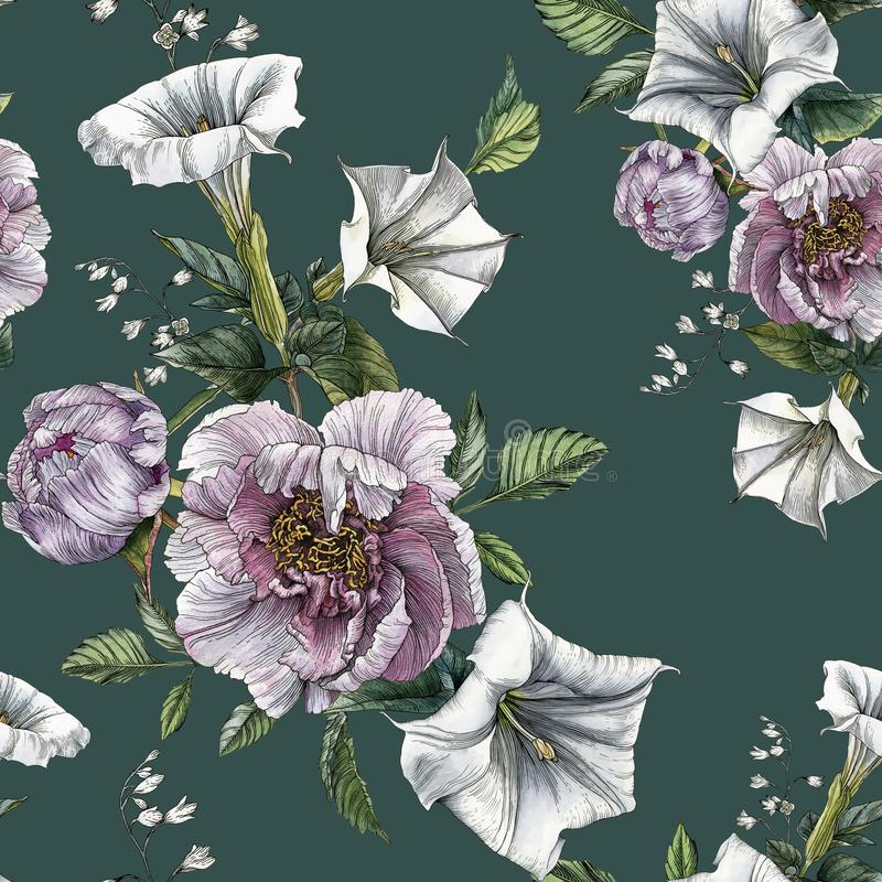 Flower seamless pattern with peonies and datura flower stock illustration