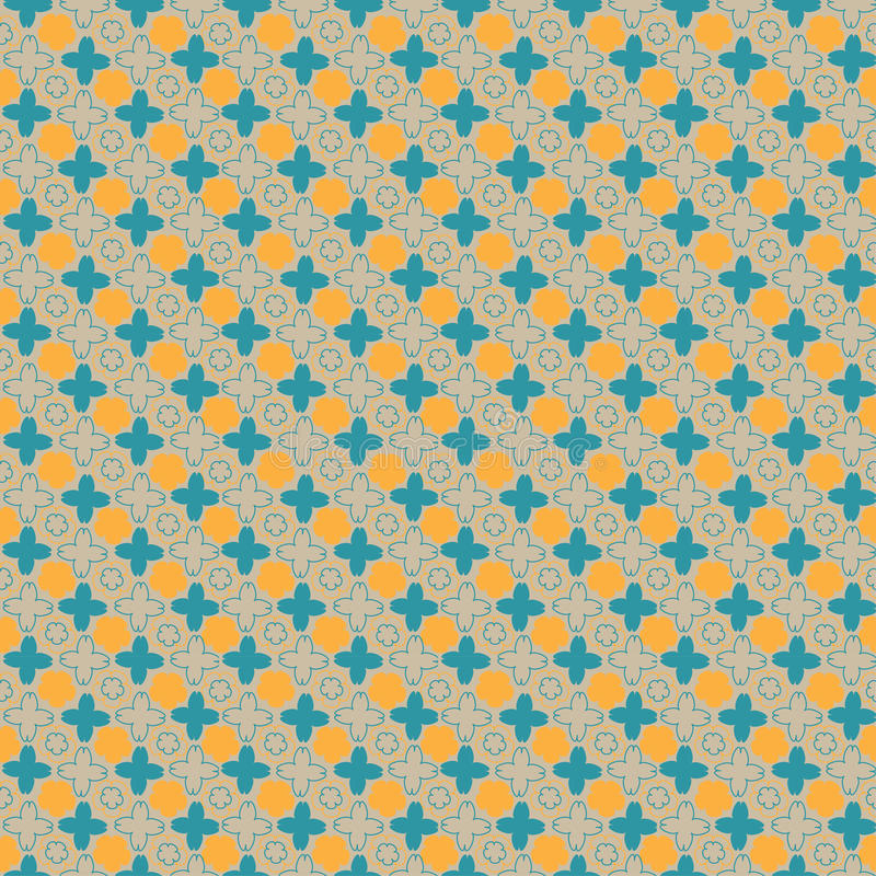 Flower seamless pattern; retro color and designed. Background stock illustration